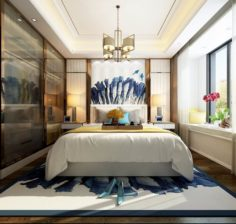 Stylish master bedroom design 11 3D Model