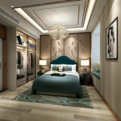 Stylish master bedroom design 93 3D Model