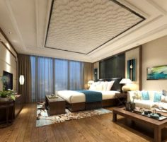 Stylish master bedroom design 67 3D Model