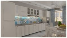 Kitchen with majolica 3D Model