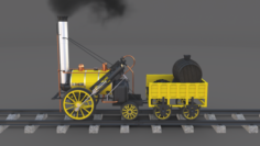 The Stephenson Animated Rocket Locomotive 3D Model