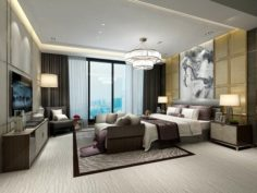 Stylish master bedroom design 37 3D Model