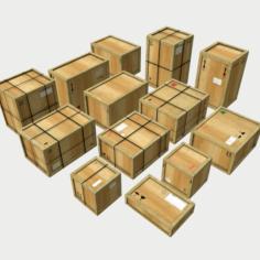 Wooden Cargo Crates PBR 3D Model