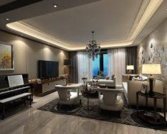 Stylish avant-garde living room design 35 3D Model