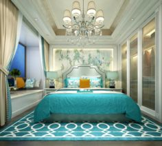 Stylish master bedroom design 57 3D Model