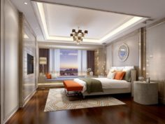 Stylish master bedroom design 81 3D Model
