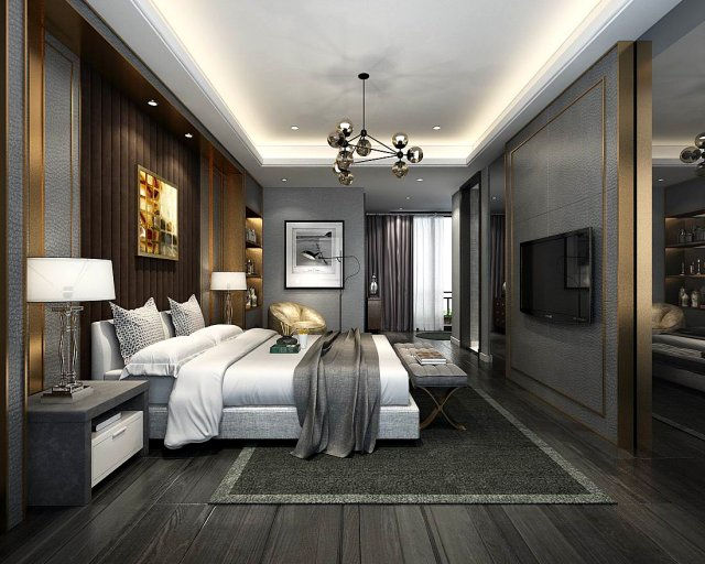 Stylish master bedroom design 35 3d model for Bedroom designs 3d model