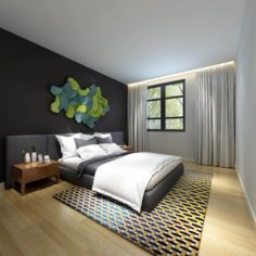 Stylish master bedroom design 94 3D Model