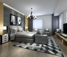 Stylish master bedroom design 41 3D Model