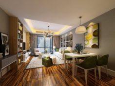 Stylish avant-garde living room design 31 3D Model