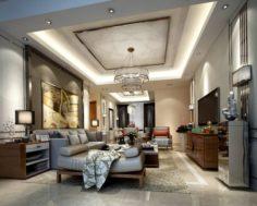 Stylish avant-garde living room design 34 3D Model