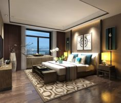 Stylish master bedroom design 66 3D Model