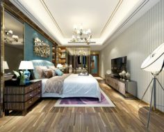 Stylish master bedroom design 78 3D Model