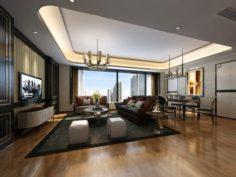 Stylish avant-garde living room design 26 3D Model
