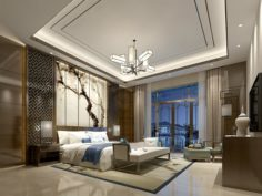 Stylish master bedroom design 69 3D Model