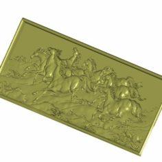 horses background wall relief 3d model 3D Print Model