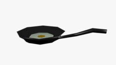 Frying Pan With Egg Lowpoly 3D Model