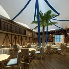 Restaurant teahouse cafe drinks clubhouse 180 3D Model