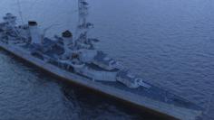 USS Pensacola CA-24 with F4F 3D Model