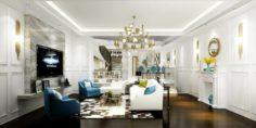 Stylish avant-garde living room design 33 3D Model