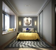 Stylish master bedroom design 31 3D Model