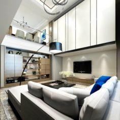 Stylish avant-garde living room design 30 3D Model
