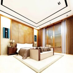 Stylish master bedroom design 63 3D Model