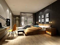 Stylish master bedroom design 19 3D Model