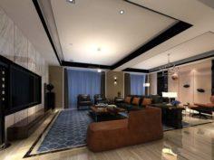 Stylish avant-garde living room design 25 3D Model