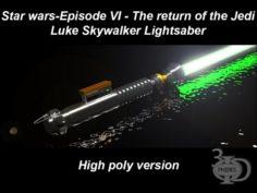 Luke Lightsaber High poly 3D Model