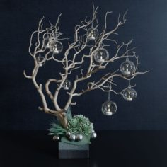 Decor branch and christmas toy 3D Model