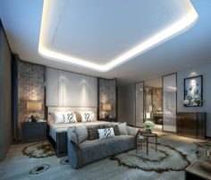 Stylish master bedroom design 32 3D Model