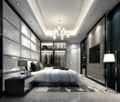 Stylish master bedroom design 29 3D Model