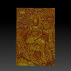 guanyin with dragon and phoenix 3D Print Model