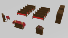 Low Detail Church Asset Pack 3D Model