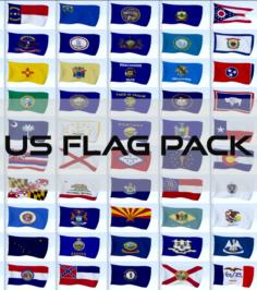 Animated US Flag Pack 3D Model