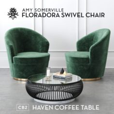 Floradora Swivel chair with CB2 Haven coffee table 3D Model