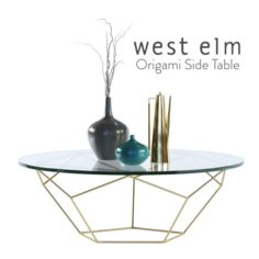 Western Elm Origami Table 30 inches 3D Model