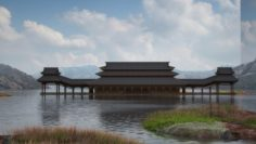 Large Oriental ancient palace corridor building 3D Model