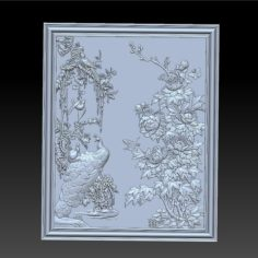 peacock and peony 3D Print Model