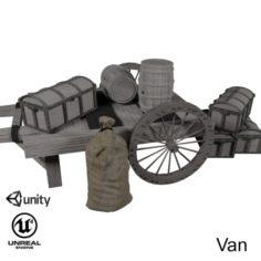 Wooden cart 2 3D Model
