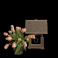 Flowers and a desk lamp171228 3D Model