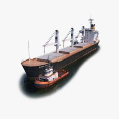 Bulk Carrier and Tugboat 3D Model