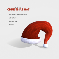 Free Hand-Painted Christmas Hat Free 3D Model