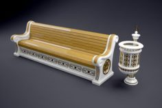 Classic bench and urn 3D Model