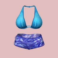 Sexy Blue Army Bikini 3D Model