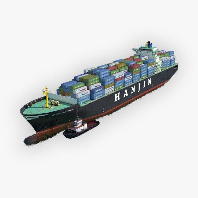 Cargo Ship Hanjin and Tugboat 3D Model