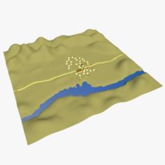 Landscape with villages wild west 3D Model