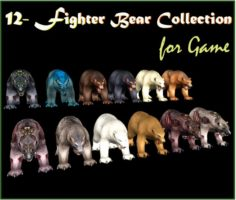 12- Fighter Bear Collection for Game 3D Model