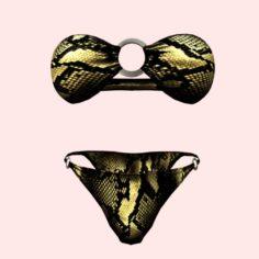 Sexy Snake Print Bikini 3D Model